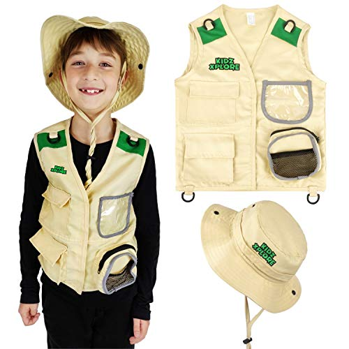 Kidz Xplore Outdoor Adventure Kit for Young Kids - Cargo Vest and Hat Set Backyard Explorer Safari Costume and Dress Up for Park Ranger, Paleontologist, Zoo Keeper Kid and Scavenger -