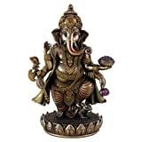 "Top Collection 7.5"" Standing Ganesh (Ganesha) Hindu Elephant God of Success. Remover of Obstacles. Real Bronze Powder Cast Statue."