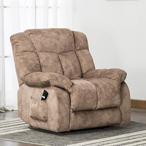 ANJ Power Lift Chair Recliner – Antiskid Fabric Living Room Chair with Overstuffed Design, Khaki
