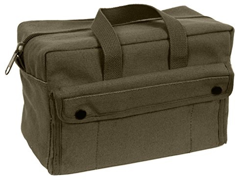 G & F Products Government Issued Style Mechanics Heavy Duty Tool Bag with Brass zipper and side pockets, tool bag for cars, drill, garden, and electrician. Olive Green