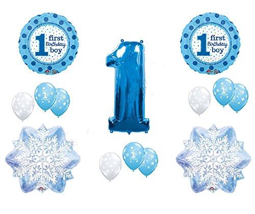 (WINTER WONDERLAND 1derland BIRTHDAY party BALLOON set 14pieces BOY blue SNOWFLAKE)