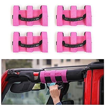 JeCar 4 x Heavy Duty Roll Bar Grab Handles for Jeep Wrangler 1955-2020 JK JL CJ YJ TJ Unlimited (Pink): Automotive