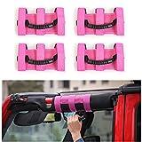 JeCar 4 x Heavy Duty Roll Bar Grab Handles for Jeep Wrangler 1955-2018 JK JL CJ YJ TJ Unlimited (Pink)