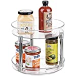 """'mDesign 2-Tier Lazy Susan Turntable Spice Organizer for Kitchen - 9"""", Clear/Chrome' from the web at 'https://images-na.ssl-images-amazon.com/images/I/51qOhwf0iQL._AC_SR150,150_.jpg'"""