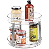 """mDesign 2-Tier Lazy Susan Turntable Spice Organizer for Kitchen - 9"""", Clear/Chrome"""