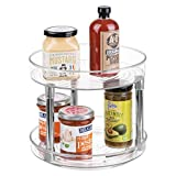 mDesign Two Level Lazy Susan Turntable Food Storage Container for Cabinets, Pantry, Refrigerator, Countertops, BPA Free - Spinning Organizer for Spices, Condiments, Baking Supplies - 9'' Round, Clear