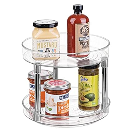 MDesign Two Level Lazy Susan Turntable Food Storage Container For Cabinets,  Pantry, Refrigerator,