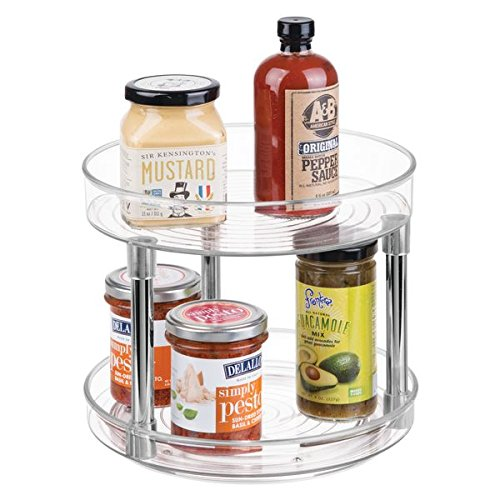 Plastic Lazy Susan - mDesign Two Level Lazy Susan Turntable Food Storage Container for Cabinets, Pantry, Refrigerator, Countertops, BPA Free - Spinning Organizer for Spices, Condiments, Baking Supplies - 9