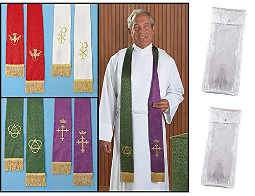 Set of 2 Jacquard Reversible Clergy Stoles With Snap Close Storage (Jacquard Snap)