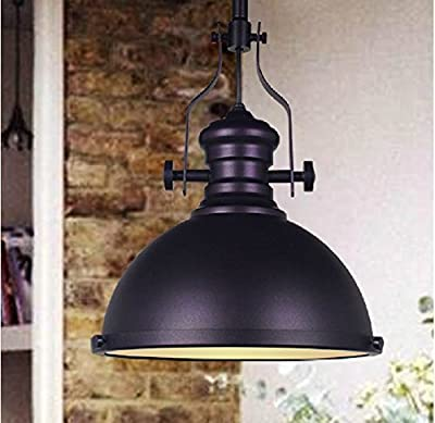 WinSoon 1PC 12 X 10.6 Inch Industrial Chandelier Metal Ceiling Pendant Light Vintage Retro Lamp Shade Black