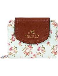 Women PU Zipper Closure Flower Printed Flap Wallet