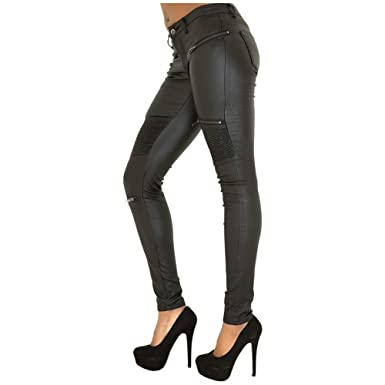 8803112967a AOVEI Women s Skinny Leggings with Pockets Ruched PU Tights Pencil Pants  Zip Jeans