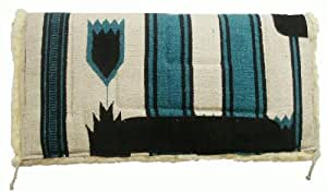 """Showman Teal 32"""" X 32"""" Deluxe Navajo Saddle Pad, Kodel Fleece Bottom and Suede Wear Leathers"""