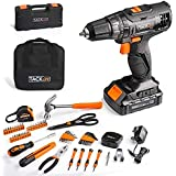 TACKLIFE 20V Cordless Drill & Home Tool Kit, 60PCS,Variable Speed Drill with 19+1 Torque Setting, Tool box with drill and Sto