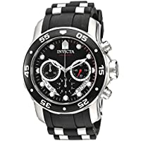 Invicta Men's 'Pro Diver' Quartz Stainless Steel and Silicone Watch, Color:Black (Model: 21927)