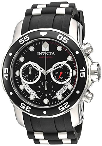 Invicta Men's 'Pro Diver' Quartz Stainless Steel and Silicone Watch, Color:Black (Model: 21927) ()