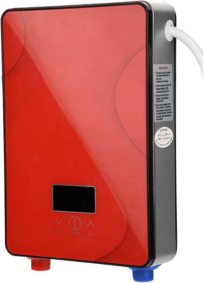 Fdit Socialme-EU 8500W / 6500W / 3000W Mini Calentador de Agua Eléctrico Instantáneo Sin Tanque 220V Temperatura de Agua de Salida Ajustable para Uso Baño Cocina(EU) (Rojo 6500W)