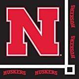 Club Pack of 240 NCAA University of Nebraska Huskers 2-Ply Disposable Party Beverage Napkins 5''