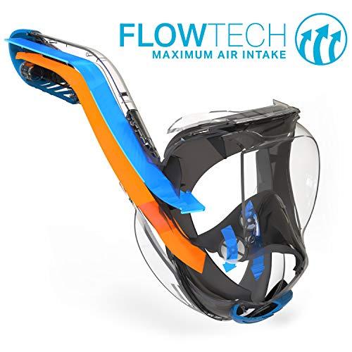 WildHorn Outfitters Seaview 180 ° V2 Máscara de snorkel de rostro completo con FLOWTECH ...