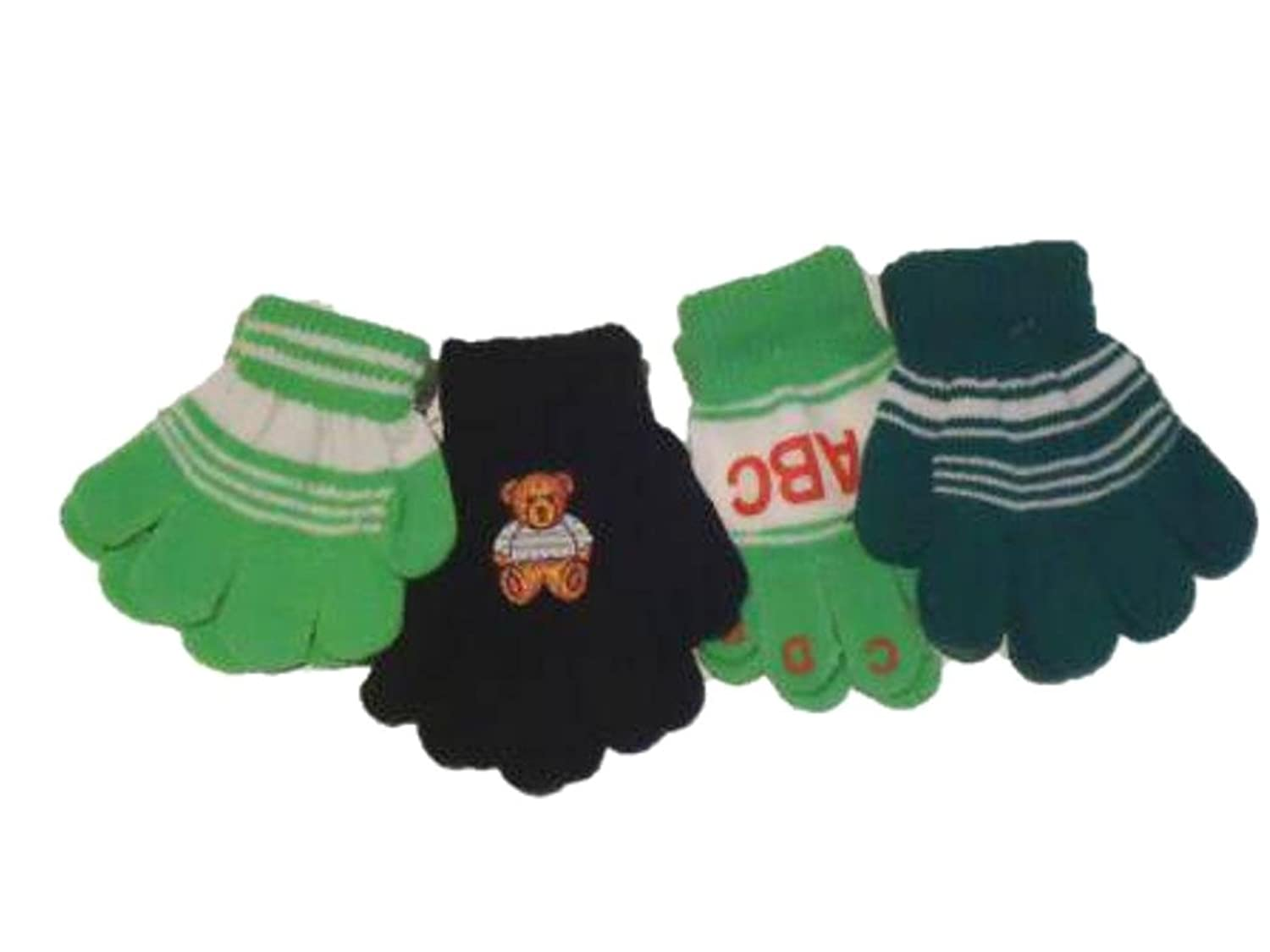 hot Four Pairs of One Size Magic Stretch Gita Gloves for Infants Ages 1-3 Years