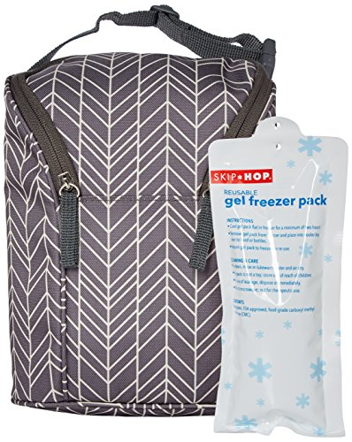 Skip Hop Insulated Breastmilk Cooler And Baby Bottle Bag, Grab & Go Double, Grey Feather by Skip Hop (Image #5)