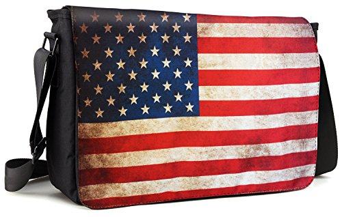 Meffort Inc 15 15.6 Inch Laptop Padded Compartment Shoulder Messenger Bag with Shoulder Pad - USA Flag (Bag American Flag)
