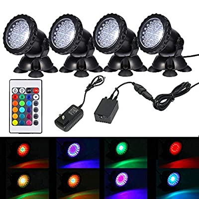 iMeshbean Jebao 12-LED Led Submersible Pond Lights,Set of 4/6 Underwater Pool Fountain Waterfall Lights PL1LED with Color Lens