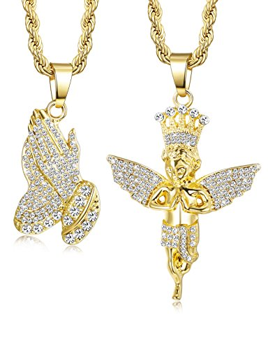 - Jstyle 2Pcs Gold Plated Necklaces for Women Men Prayer Hand Angel Pendant Necklace Ice Out Hip Hop Rope Chain 24