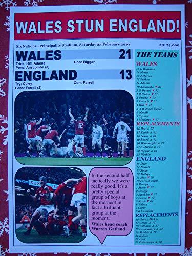 (Sports Prints UK Wales 21 England 13-2019 Six Nations - Souvenir Print)