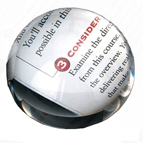 Amlong Crystal Dome Paperweight and Crystal Magnifier, 3.25-inch Clear