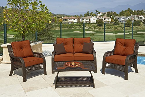 4-Piece Chelsea Cappuccino Resin Wicker Patio Loveseat, Chairs & Table Furniture Set - Rust Cushions