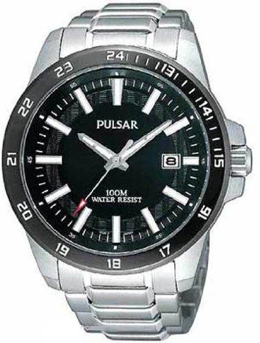 Pulsar Rubber Watch - Pulsar Men's PXHA05X - Silver-Tone Black Dial and Bezel