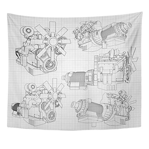 YGUII Tapestry White Car Big Diesel Engine with The Truck Depicted in Contour Lines on Graph of Black Grey Gearbox Home Decor Wall Hanging for Living Room Bedroom Dorm 150150cm(60
