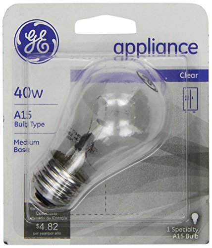 Clear Appliance Light Bulb (GE 15206, 40-Watt, Appliance Bulb, Medium Base, A15 Bulb Shape, 1-pk, 120-Volt)