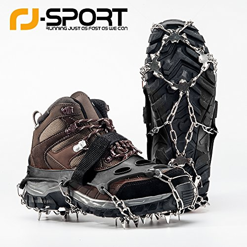 RJ-Sport Ice Cleats, Anti Slip 18 Teeth Claws Crampons for Shoes and Boots - Cover Stainless Steel Chain -Traction Snow Spikes for Outdoor Activities, Mountain, Climbing, Hiking and More (Black, L)