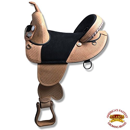 HILASON 14″ 15″ 16″ 17″ TREELESS Western Trail Barrel Racing American Leather Saddle TAN