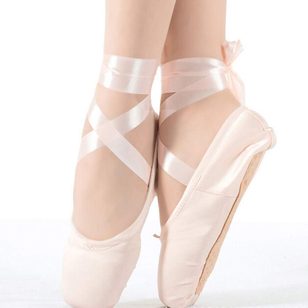 Homieco/™ Girls//Women Dance Shoe Ballet Pointe Shoes with Ribbon and Toe Pads