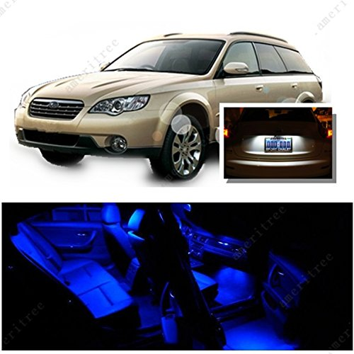 Ameritree Blue LED Lights Interior Package + White LED License Plate Kit for Subaru Outback 2000-2008 (8 Pieces)