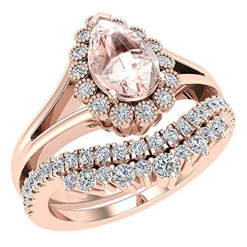 Pink Morganite Engagement Ring 18K Rose Gold Bridal Wedding Set 8 mm Pear center 1.45 Carat Total Weight (Ring Size 7.5) ()