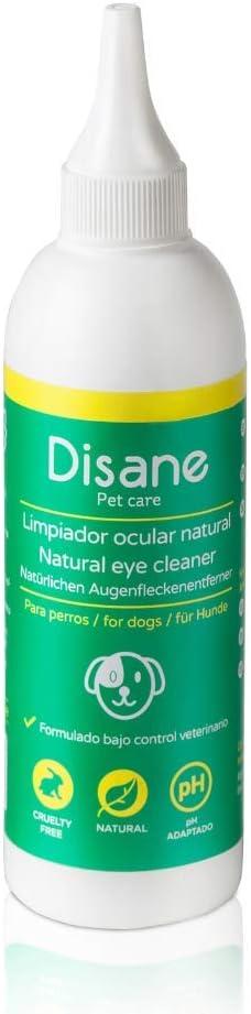 Disane Limpiador de Ojos para Perros Natural | Elimina Manchas y Legañas Producidas por Secreciones Lagrimales Alrededor del Ojo| Formulado Bajo Control Veterinario Para la Salud Ocular del Perro