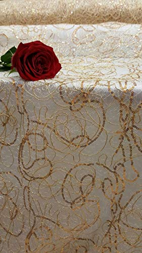 (Gold Spider Web Embroidered lace Sequin Geometric Prom Fabric Sold by The Yard Gown Quinceañera Bridal Evening Dress Gorgeous Decoration)
