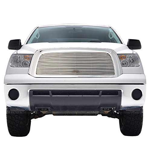E-Autogrilles Aluminum Polished 8mm Horizontal Replacement Billet Grille with Chrome ABS Shell Fits for 07-09 Toyota Tundra (42-0365)
