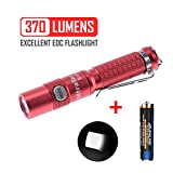 UltraTac K18 v2017 High Lumen EDC Flashlight for Woman, AAA Battery, Stainless Steel Side Switch, Support 10440 Rechargeable Battery (Red)