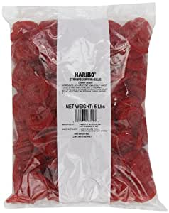 Haribo Gummi Candy, Strawberry Licorice Wheels, 5-Pound Bag
