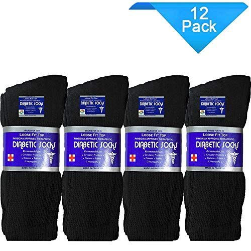 USBingoshop 12 Pairs Mens Physicians Approved Crew Diabetic Socks Cotton 10-13 (12 Pairs D-Black)