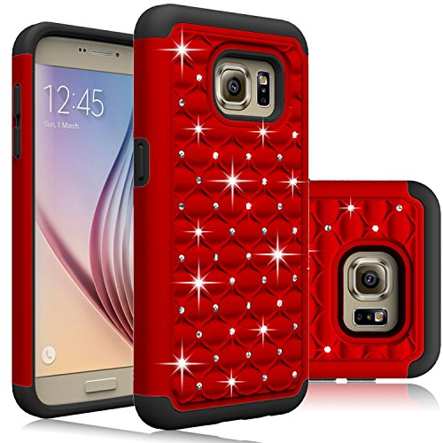 Samsung Galaxy S7 Case, Laxier(TM) Premium Lightweight Slim Fit Cover with Rhinestone Hard Shell Silicone Protective Case for Galaxy S 7 (Red)
