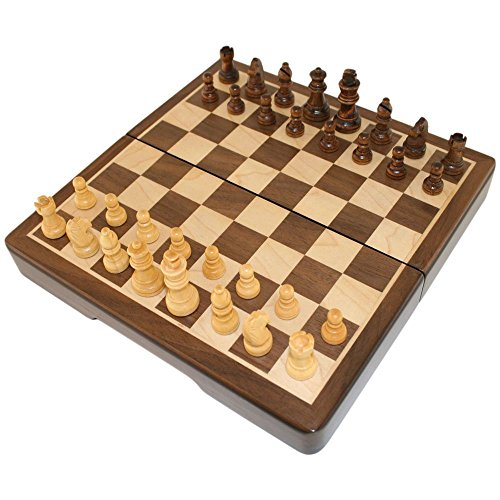 Frances 8 Inch Chess Folding Magnetic Inlaid Wood Board Game with Wooden Pieces - Travel Size ()