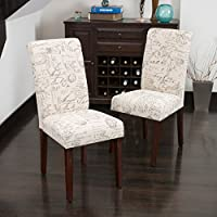 Cosettes French Scripted Beige Linen Dining Chairs (set of 2)