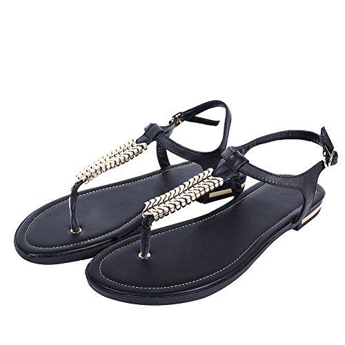Jushee Perizoma Sandali strap Shoes Strap Ladies Womens Post T Flat Nero qSBqZr