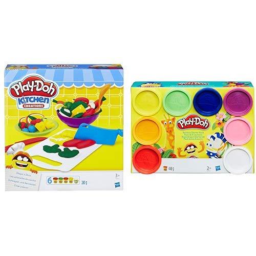 Hasbro Play-Doh B9012EU4 - Schnippel- und Servierset Knete, für fantasievolles und kreatives Spielen &  Play-Doh A7923EU6 - Regenbogen, 8-er Pack